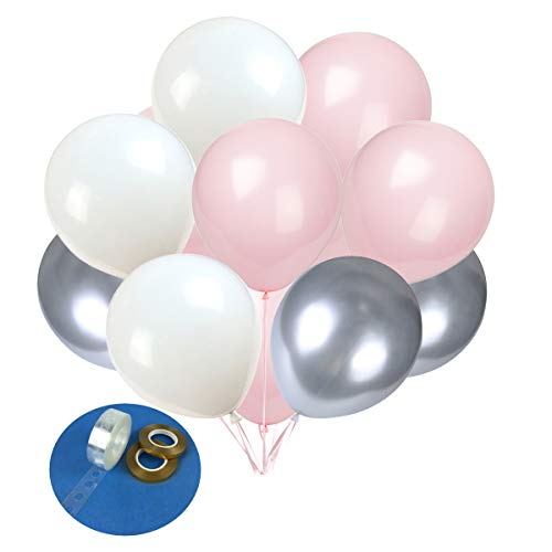 Latex Balloons 100 pcs 10 inch :White/Tender Pink/Metal Silver Latex Balloons, Birthday, Wedding, Baby Shower, Party Decoration, Event ()