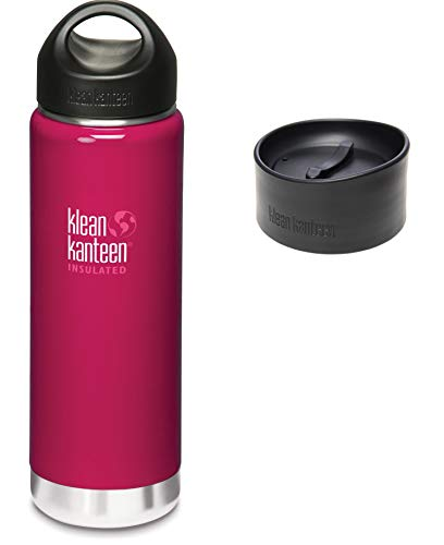 (Klean Kanteen 20 oz Wide Mouth Insulated Wild Raspberry, Bottle With Leak Proof Café Cap 2.0 and Loop Cap)