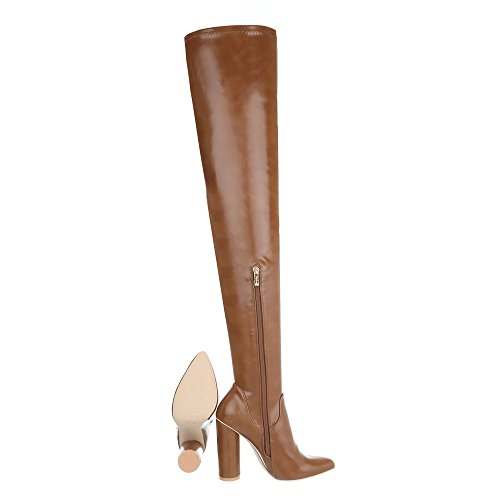 Design Braun Damenschuhe High Reißverschluss Stiefel Heels Ital Pump Overknees Overknees dzn1WH