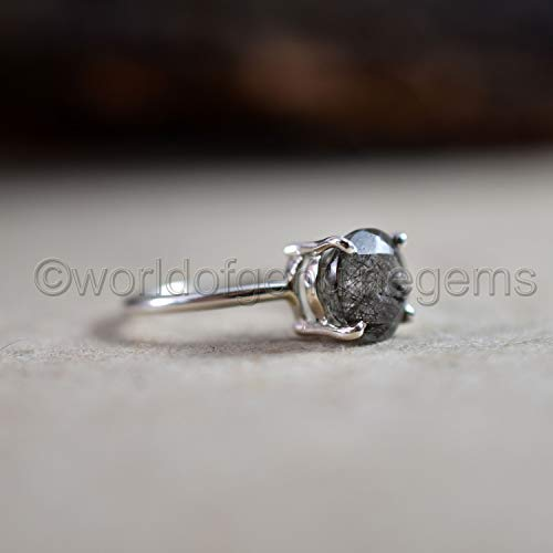 - stunning natural black rutile ring, round black rutile jewelry, 925 sterling silver rutile ring, rutilated quartz jewelry, healing gemstone women's dainty ring, birthday gift for her