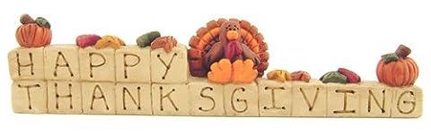 Happy Thanksgiving Engraved Resin Block Sign Turkey Pumpkins Country Primitive Fall Harvest Décor - Sign Blocks Decor