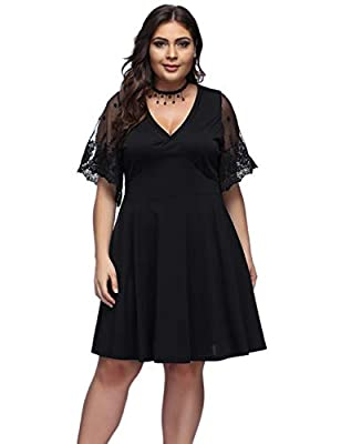 Lover-Beauty Women's Plus Size Dress V-Neck Evening Party Lace Formal Dresses