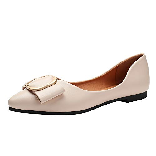 (Meeshine Womens Classic Pointy Toe Ballet Flats Slip On Leather Flat Shoes Nude-06 US 10)