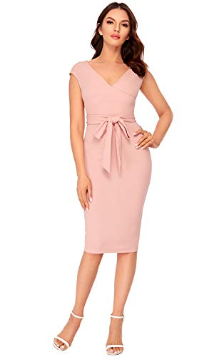 SheIn Women's Cap Short Sleeve Surplice V Neck Tie Waist Bodycon Midi Dress