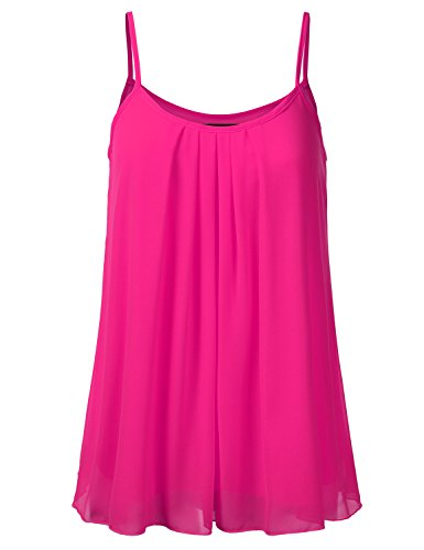 - SSOULM Women's Pleated Chiffon Layered Cami Cool Short Tank Tunic Top Fuchsia L