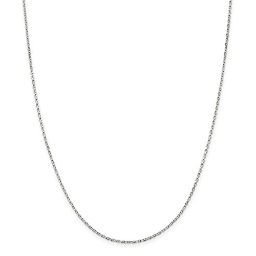 925 Sterling Silver 1.5mm Beveled Oval Cable Link Chain Necklace 24 inches