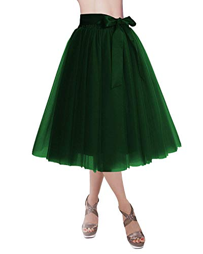 CoutureBridal Women's Princess Party Tulle Tutu Midi Skirt with Bow Dark - Tulle Italian