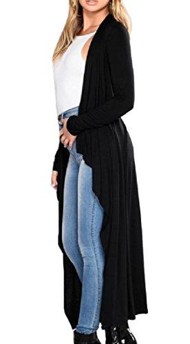 Floor Screen China - Tootless-Women Sunscreen Long-Sleeve Floor-Length Irregular Cardigan Black L