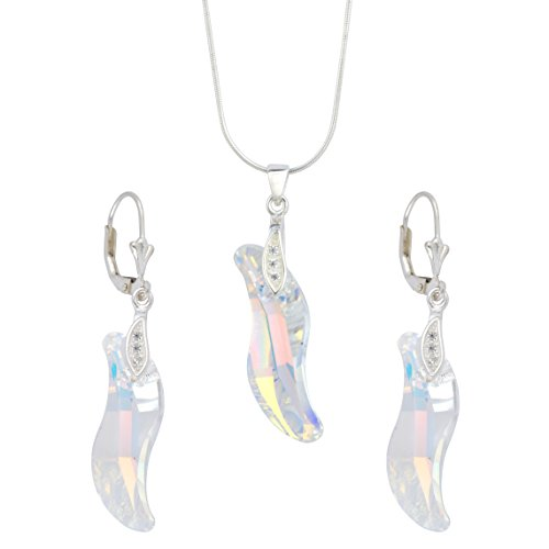 Sterling Silver Swarovski Elements Wave Aurora Borealis Earrings & Pendant Necklace Jewelry Set