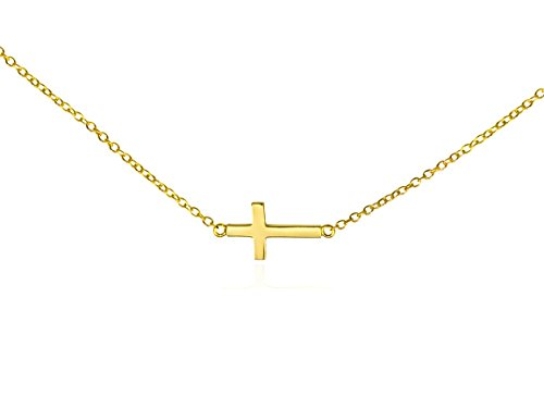Sideways PETITE Cross Necklace .925 Solid Silver Gold Tone Women's Horizontal Cross Pendant Gift Box