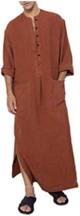 XBTCLXEBCO Thobe for Men Cotton,Mens Kaftan Robe V-Neck Linen Short Sleeve Loungewear Long Night Gown Casual S