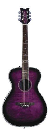 Daisy Rock Pixie Acoustic-Electric Guitar, Plum Purple (Butterfly Cutaway Guitar)
