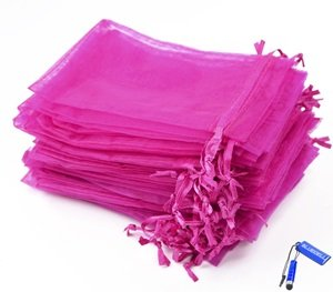 Bluecell Pack of 50 Hot Pink color Organza Drawstring Gift B