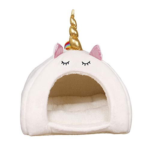 POPETPOP Guinea Pig Bed-Hamster Warm House Small Pet Animals Bed Dutch Pig Hamster Cotton Nest Hedgehog Rat Chinchilla Guinea Habitat Unicorn Pet Nest-Size S