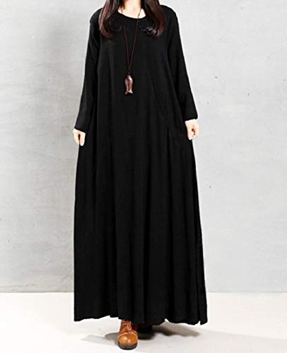 Long Dress Sleeve Coolred Comfortable Casual Solid Size Long Women Black Plus nHw7FwSq