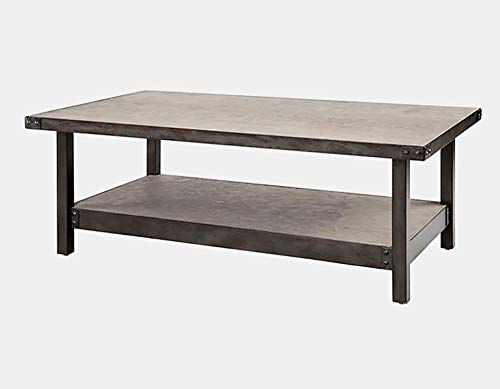 Stone Top Coffee Table with Metal Base - Coffee Table with Lower Shelf - Pewter