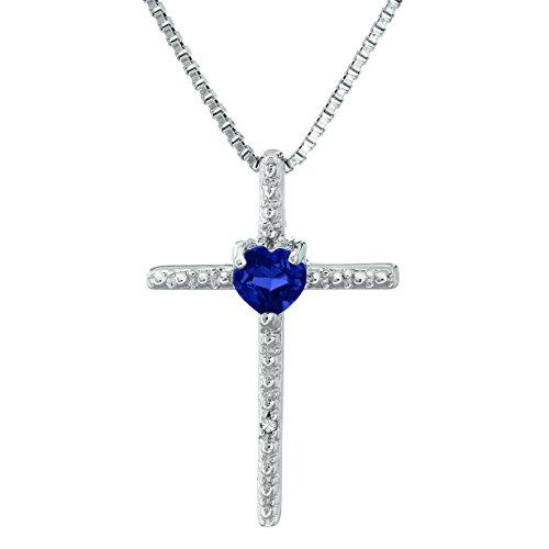 .30 Ct Heart Blue Sapphire Diamond Sterling Silver Cross Pendant 18