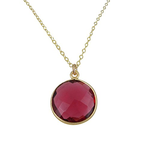 22K Gold Plated 925 Sterling Silver Chain Necklace with Rubellite Quartz Round Bezel Gemstone (24) ()