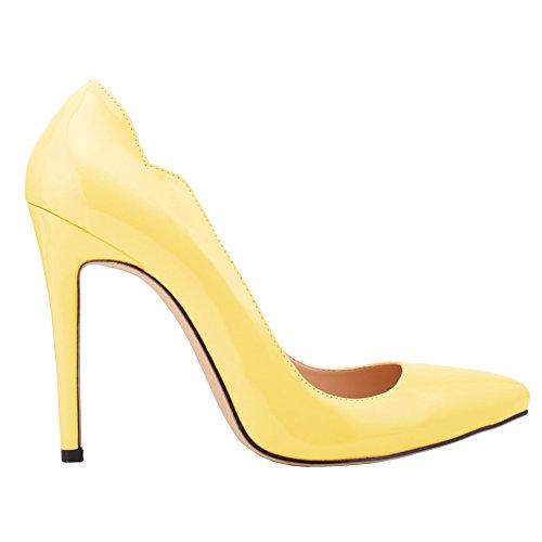 Women's Elegant Pointed-Toe Slip On High Heels OL Pumps Yellow mFOrv