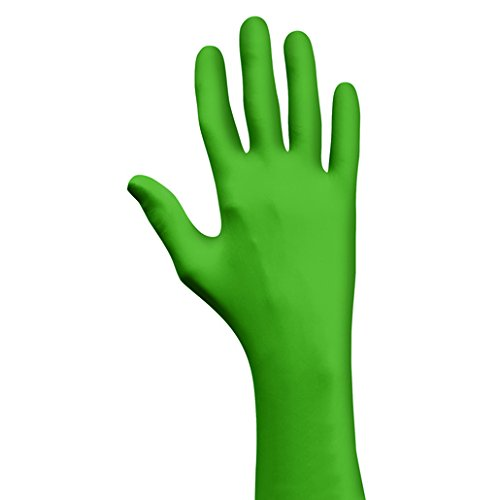 SHOWA Large Green Eco Best Technology (EBT) 4 mil Latex-Free Nitrile Powder Free Biodegradable Disposable Gloves (100 Gloves Per Box) by SHOWA (Image #1)