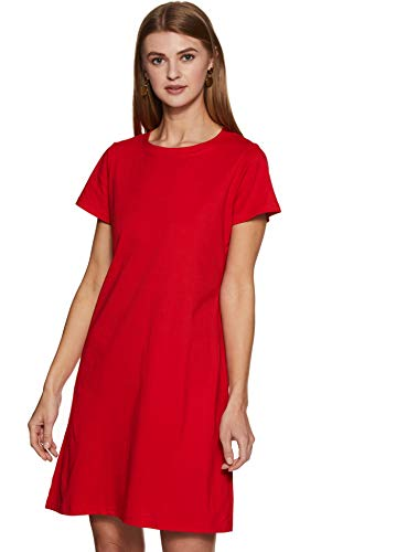 Miss Chase Women's Short Sleeves Round Neck Solid Mini Shift Dress