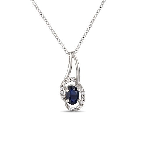 Jewel Ivy Ferhe New York 925 Sterling Silver Pendant with Cubic Zirconia & Sapphire by Jewel Ivy
