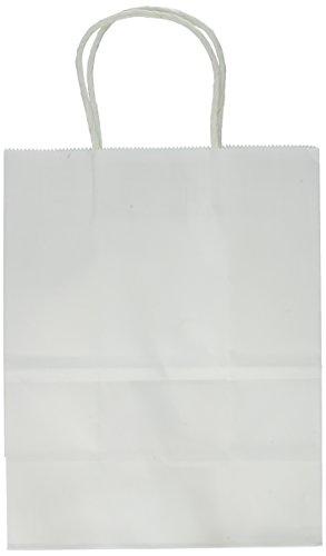 ": 8""x4.75""x10"" - 100 Pcs - White Kraft Paper Bags, Shopping, Mechandise, Party, Gift Bags"