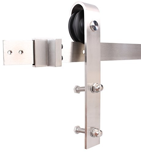 Satin Nickel Country Set - TMS 6 Foot Stainless Steel Country Sliding Barn Wooden Door Hardware Track Set