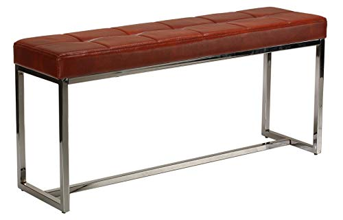Office Metal Bench - Cortesi Home Livio Contemporary Narrow Tufted Bench, Brown Leather Like Vinyl