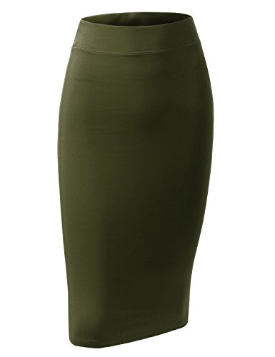 ALL FOR YOU Women's Slim Fit Ponte Pencil Skirt Olive Small