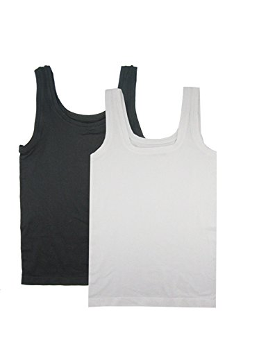 FEM Women's Camisole Seamless - 2 Pack (XL, Black, White)