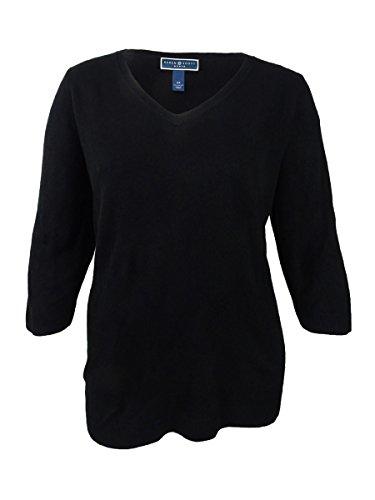Karen Scott Womens Plus V-Neck Solid V-Neck Sweater Black 1X -