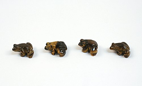 - Tiger's Eye Frog Brown Beads Set of 4 with 1.3mm Hole