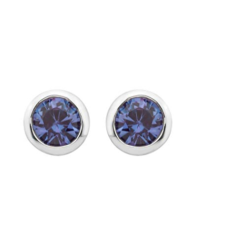 .925 Sterling Silver Created Alexandrite Gemstone Petite 4mm Bezel Cup Set Stud Earrings - June Birthstone