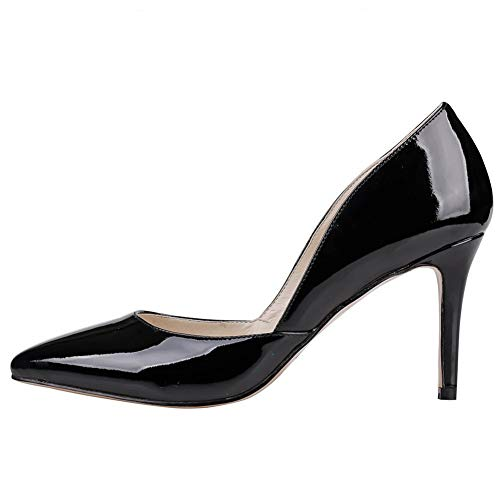 Sandales Noir femme compensées cuir 1 verni Doratasia pour qdUXwd7