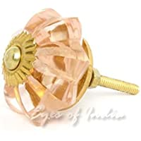 EYES OF INDIA - Pink Clear Glass Cupboard Dresser Door Cabinet Knobs Pulls Shabby Chic Decorative Colorful Boho Bohemian