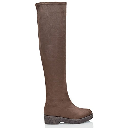 WOMENS THIGH HIGH BLOCK HEEL LADIES CHUNKY SOLE ZIP STRETCH OVER THE KNEE BOOTS Brown Faux Suede ieKLaI