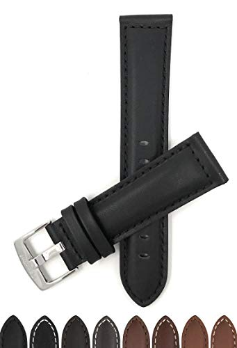 Extra Long (XL), 22mm, Black Leather Watch Band Strap, Mat Finish