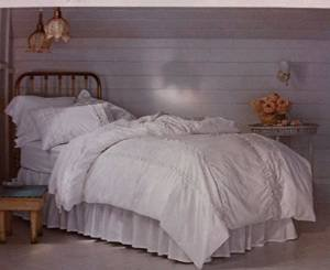 - Simply Shabby Chic White Pieced Mesh Lace Ruffle Duvet Set TWIN