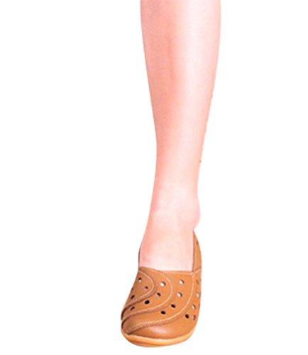 YAANCUN Mujeres Retro Hueco Conducción Coche Zapatos Casuales Comodidad Cuero Mocasín Pisos Como la imagen