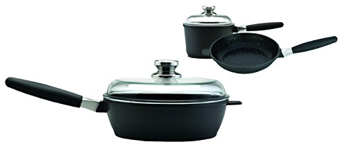 Amazon Eurocast Professional Cookware Starter Set With 2 Glass Lids and Removable Handles. Includes 9.5 inch Fry Pan, 9.5 inch Saute Pan, and 1.2 Qt Sauce Pan (6.25 inch)