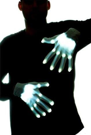 Led Light Skeleton Costume (Led Dancing Skeleton Gloves, Hand Flashing Light Shows Halloween Costume, Novelty Christmas Gift (White))