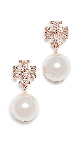 Tory Burch Women's Rose Gold Crystal Logo Pearl Drop Earrings