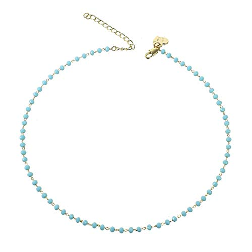 - Fettero Dainty Blue Bead Choker Necklace,Crystal Beaded Necklaces for Women (NK6-1-BU)