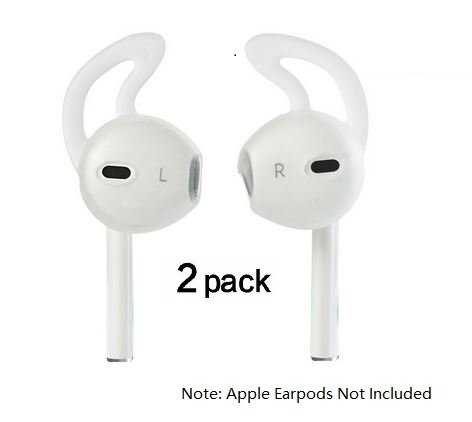 Price comparison product image Silicone Sport Tips (2 pairs) for the Apple Earpods and Earbuds Compatible with iPhone 7 / 6 / 6S / 6 Plus/ 5S/ 5C/ 5 Earphones Headphones Earbuds by Pantheon