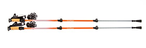Cloud Ripper Trekking Poles / Walking Sticks - 100 % Carbon Fiber With Anti-shock & Quick Lock Technology - Includes Natural Cork Grips and Air Ventilated Extra Padded Straps (1 Pair) (Orange/Silver)