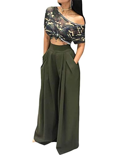 - LROSEY Women's Stretchy Solid Color High Waisted Wide Leg Palazzo Pants with Pockets Green