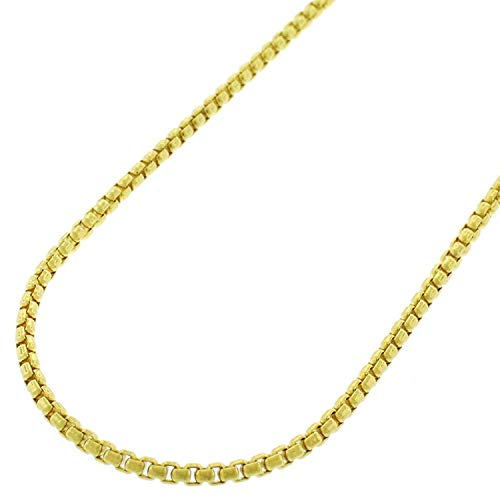 Verona Jewelers 10K Yellow Gold 2MM Round Box Chain Necklace, 10K Box Necklace, 10K Gold Necklace, 10K Gold Pendant Necklace 18-30 (18, 2MM)