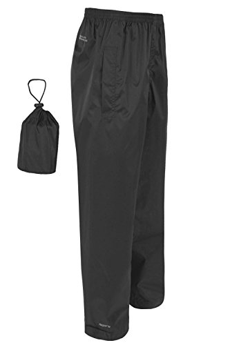 Mountain Warehouse Pakka Mens 100% Waterproof Rain Over pants all ages Black Large