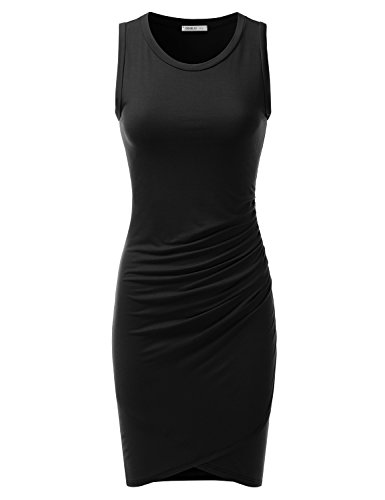 - Doublju Stretchy Fitted Tulip Hem Tank Dress for Women with Plus Size (Made in USA) Black 2XL